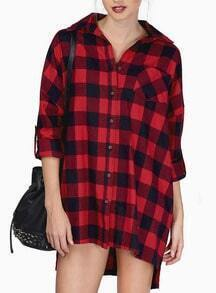 Red Long Sleeve Plaid Checkerboard High Low Blouse