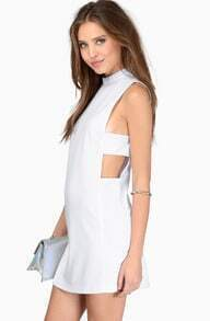 White Formaldresses Sleeveless Cut Out Dress