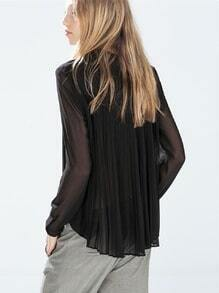 Black Long Sleeve Transparent Sexual Slutty Ethereal Pleated Blouse