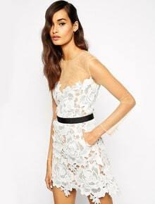 White Long Sleeve Contrast Mesh Yoke Crochet Lace Dress