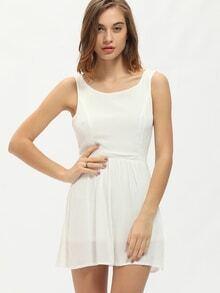 White Sleeveless Cut Out Back Dress
