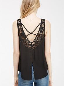 Black Sleeveless Crochet Lace Tank Top
