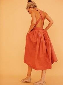 Orange Sleeveless Backless Dress