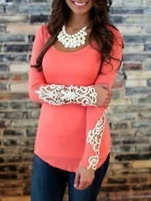 Contrast Lace Hollow Slim Pink T-shirt