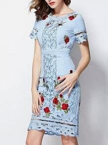 Blue Round Neck Short Sleeve Tribal Embroidered Hollow Dress