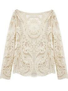 Beige Long Sleeve Hollow Crochet Lace Blouse