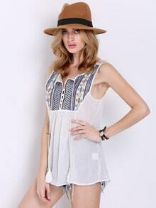 White Sleeveless Tribal Embroidered Tank Top