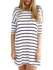 White Half Sleeve Striped Dress