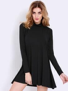 Black Pullover Long Sleeve Casual Dress