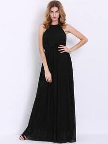 Black Convertible Sleeveless Perfect Halter Pleated Maxi Dress