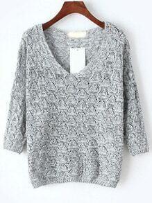 V Neck Hollow Light Grey Sweater