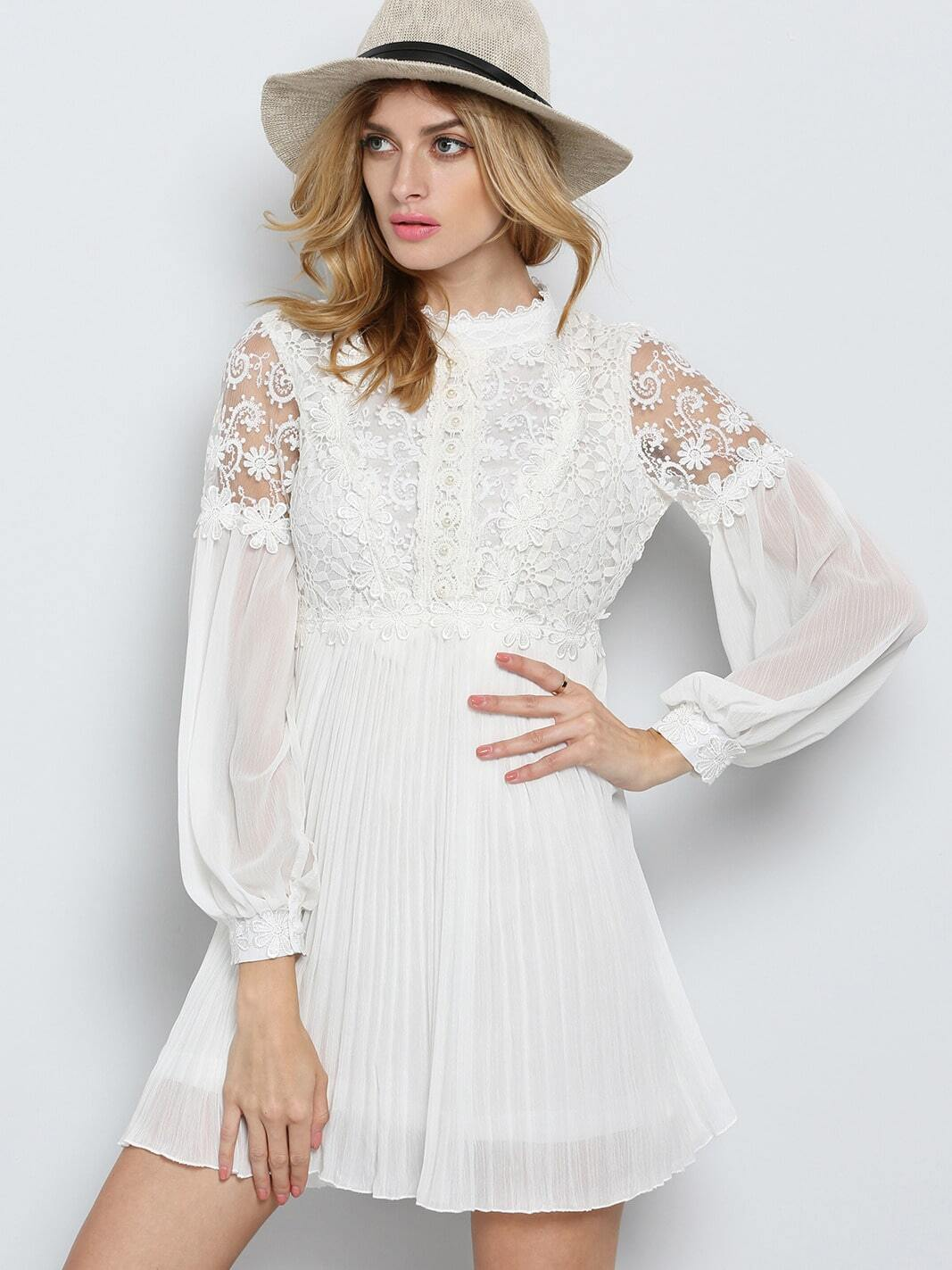 White Long Sleeve Embroidered Bead Lace Dress EmmaCloth ...