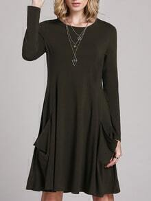 Green Long Sleeve Pockets Casual Dress