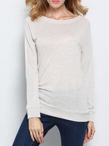 Grey Long Sleeve Embroidered Sweatshirt