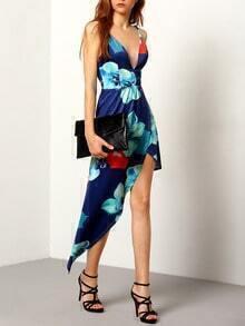 Navy Spaghetti Strap Florals Asymmetrical Dress
