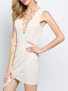 Apricot Sleeveless Deep V Neck Asymmetric Dress