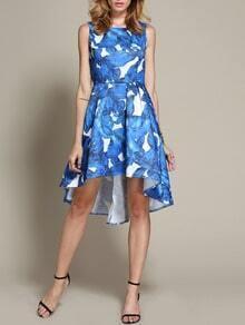 Blue Shantung Sleeveless Patterns Damask Leaves Print Dress