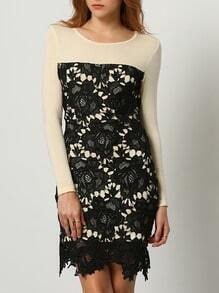Apricot Black Long Sleeve With Lace Dress