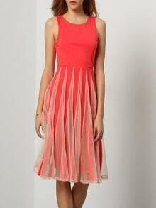 Red Melon Sleeveless With Mesh Pleated Dress