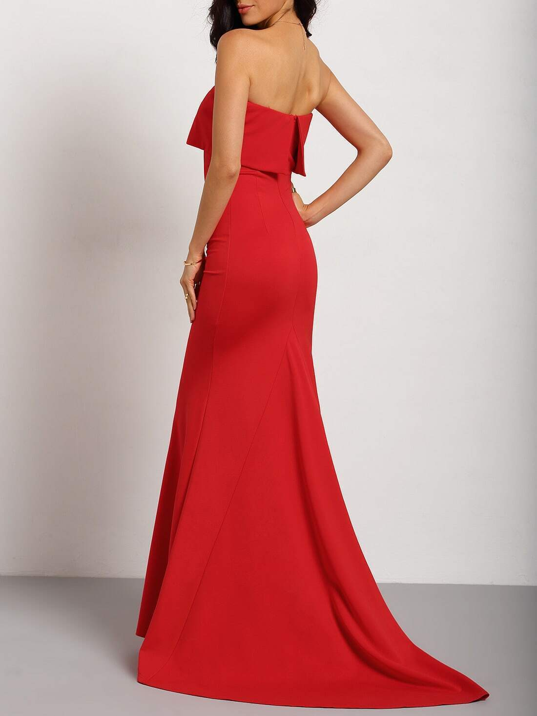 Red Strapless Maxi Dress EmmaCloth-Women Fast Fashion Online