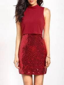 Red Sleeveless Sequined Bodycon Dress