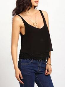 Black Strap With Lace Ruffle Cami Top