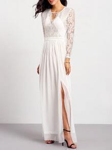 Whites Long Sleeve With Lace Split Yule Maxi Dress