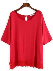 Red Crochet Hem Cold Shoulder Plus Top