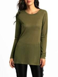 Army Green Round Neck Split T-Shirt
