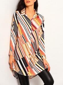 Colour Long Sleeve Vertical Stripe Dip Hem Blouse