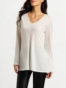 White V Neck Bell Sleeve T-Shirt