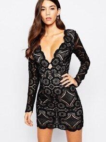 Black Long Sleeve V Neck Lace Bodycon Dress
