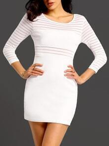 Whites Bodysuit Round Neck Striped Bodycon Dress
