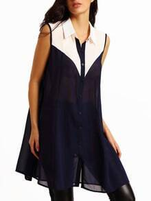 Colour-block Lapel Chiffon Dress