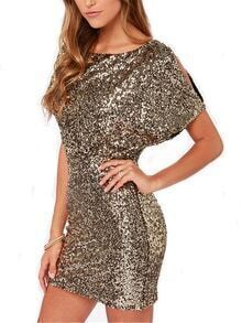 Gold Short Sleeve Sparkles Split Back Glitzy Glittering Sequined Dress