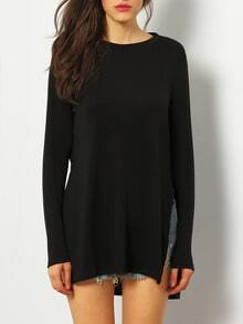 Black Dip Hem Split Side Casual T-shirt