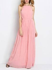 Pink Sleeveless Halter Pleated Maxi Dress