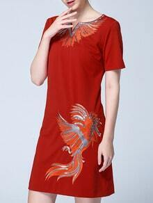 Red Round Neck Short Sleeve Sequined Embroidered Dress