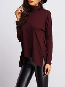 Burgundy High Neck Side Slit Asymmetrical T-Shirt