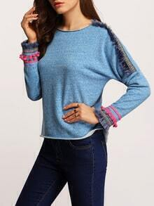 Blue Crew Neck Sweatshirt With Aztec Print Fringe Embellished