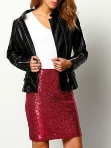 Black Long Sleeve PU Leather Zipper Jacket