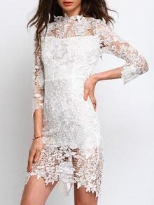 White Three Quarter Length Sleeve Lace Sheath Dress