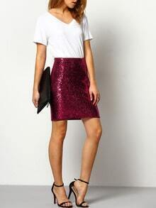 Burgundy High Waist Sequined Sheath Skirt