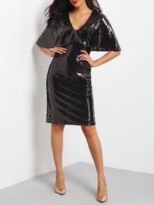 Black Deep V Neck Sequined Split Sheath Dress