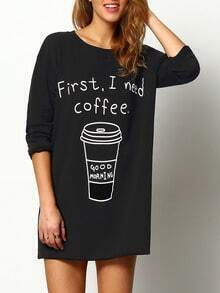Black Round Neck Coffee Print Long T-Shirt