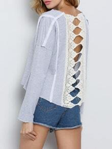 Grey Long Sleeve With Lace T-Shirt