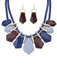 Blue Gemstone Necklace With Earrings