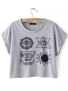 Grey Short Sleeve Elephant Print Crop T-Shirt