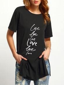 Black Letter Print Split T-Shirt