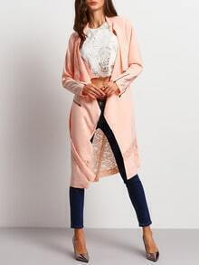 Pink Long Sleeve With Lace Trench Coat